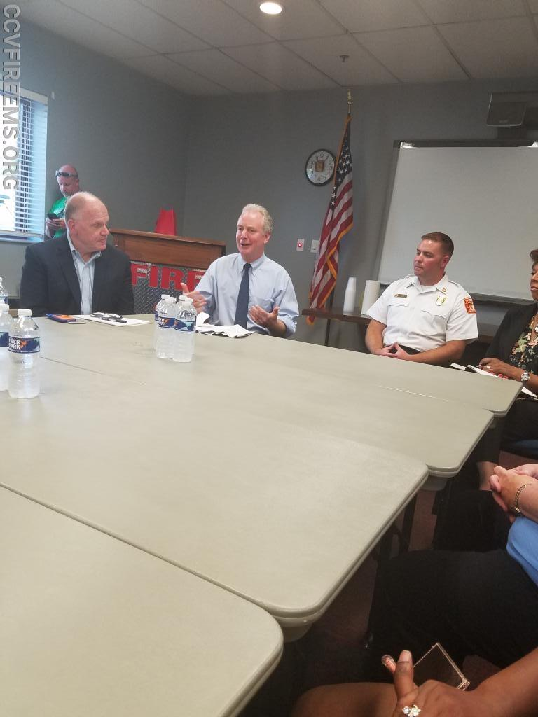 from left to right: Bart Kennedy, Senator Van Hollen, Chief Ben Jenkins, Waldorf VFD