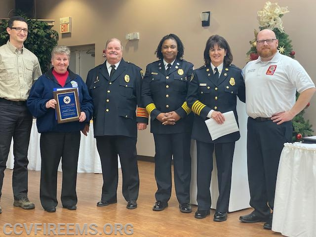 Pictured left to right: Dr. Peralta, MIEMSS District 5, Chief Lawman, Bobby Simpson, President Yates, Secretary Windsor, EMS County Chief Spalding