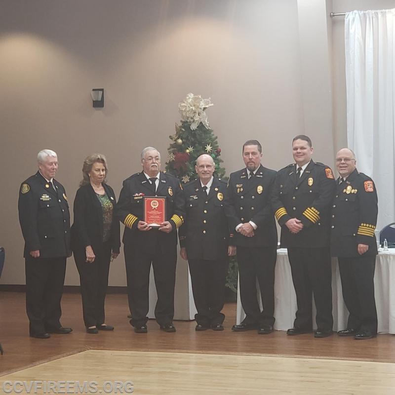 Pictured left to right: Dave Dodson, Bev Jarboe, Chief Hayden, Butch Frazier, President Bowie, Special Ops Chief Dennis Mills, Jr., Waldorf President Tom Edwards