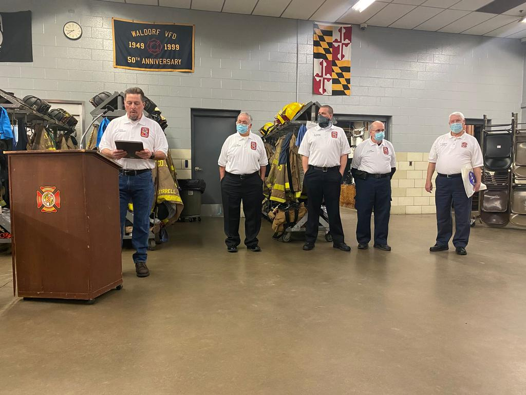President Bowie introducing fire association officers