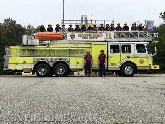 Class Photo Courtesy Chris Hill who brought over Bryans Road Truck #11 for cadets to climb the aerial